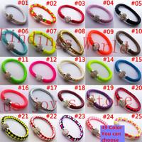 Provide Choose 49 Color 10Pcs TOP Quality PU Leather Charm Bracelet Handmade Shamballa Bracelet Magnetic Clasp Wholesale(B00163)