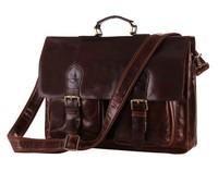 Retro real leather men's briefcase cowhide oil wax leather men laptop shoulder bag men's travel tote bag business bags
