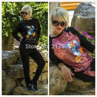 MiNi Gum 2014 New women fashion 2pcs Shield hourse print pullovers sweatshirt hoody tracksuit sportwear suit activey s m l R-006