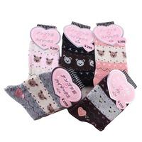 2014  Winter thick thermal cartoon wool women's socks loop pile towel socks rabbit wool socks free shipping