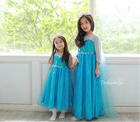 Frozen Elsa Snow Romance Dress With Tail Frozen Elsa Cosplay Shiny Dress Size 100-140 Wholesale 5pcs/Lot Free Shipping