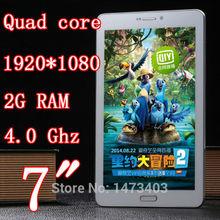 núcleo cuádruple 7 pulgadas tableta pc teléfono móvil 3g doble tarjeta sim cámara ranura 5.0mp 1920x1080 2 gb de ram ips wifi gps gsm wcdma 8 9 10 piezas(China (Mainland))