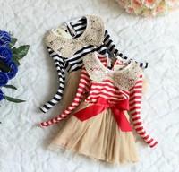 2014 Hitz Girls Striped Long-sleeved Dress Christmas TUTU Dress Sequined Bow Fashion Girl Dress 5pcs/Lot Whoelsale Good Quality