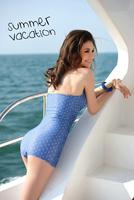 Plus Size 2015 New Women's One Piece Swimwear Denim Fabric Pattern Swimsuit Slim With Push Up L/XL/XXL Slim Sexy Wholesale