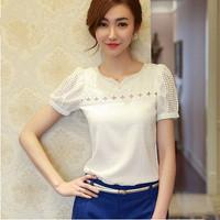S-XXXXXL Plus size Blouses Shirts New 2014 summer elegant slim lace 3D cutout Beading V-neck Casual white chiffon Tops for women