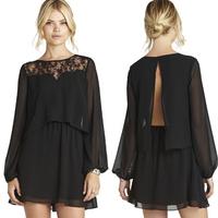 2014 New autumn Women Sexy Dress long sleeve Lace stitching chiffon mini dress