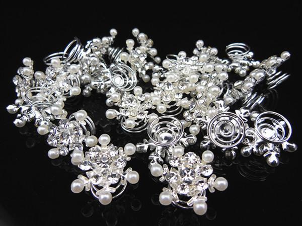Free shipping 120 Pcs princess Snowflake White Pearl Crystal Twists Spins Hair Pins(China (Mainland))