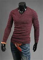2014 New Fashion Men's Long Sleeve V-neck Pullover Sweaters Brand Breathable Sexy Slim Fit Men Knit Sweaters