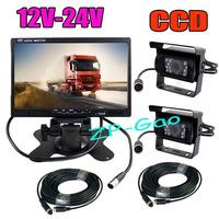 "4Pin 7"" LCD Monitor Bus Truck Rear View Kit + 2x CCD 18 IR Car Reverse Camera Waterproof 12V-24V 10pcs/lot"