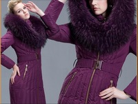 2014 newest women Duck Down FIller Purple Large Natural Fur Hooded Down Jacket Russia Winter Belt Down Parkas S-2XL