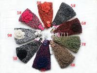 10 pcs/lot Fashion Retro Loop yarns Flower Women Knitted Headwrap Knitting wool crochet headband ear warmers For Girl Women