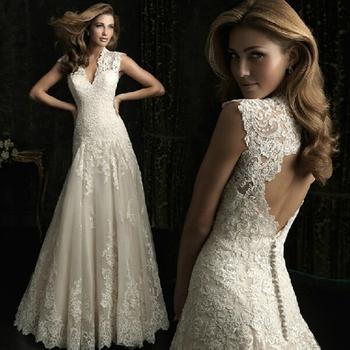 С звезда в том же стиле 2015 новый русалка свадебное платье v-образным вырезом стиль спинки роскошные кружева свадебное платье невесты платье HoozGee 421