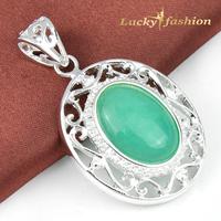 Newest Fashion Designer Jewelry Antique Silver Round Amazon Stone Pendant