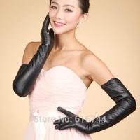New Fashion Women's 60cm Long Opera Autumn Winter Bridal Gloves Genuine Lambskin Leather Black S M L