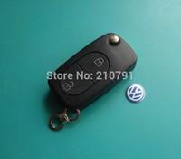 2 BUTTON UNCUT FLIP KEY SHELL FOB CLICKER FOR VW GOLF JETTA BEETLE PASSAT B5
