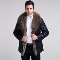 2014 winter mens leather fur coat sheepskin overcoat outerwear coats for men genuine leather Raccoon fur Plus size Dropship
