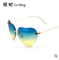 Heart-shaped gradient sunglasses, frameless double color sunglasses,fashion jewelry.
