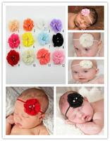 2014 New Baby Girl Chiffon Flower Headband Elastic Infant Headband for Girl Hair Accessories 20pcs/lot Free Shipping