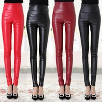 winter plus velvet color PU leather leggings tight leather pants female trousers waist was thin