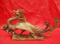 Chinese Antique Brass Large Sculpture Phoenix Statue