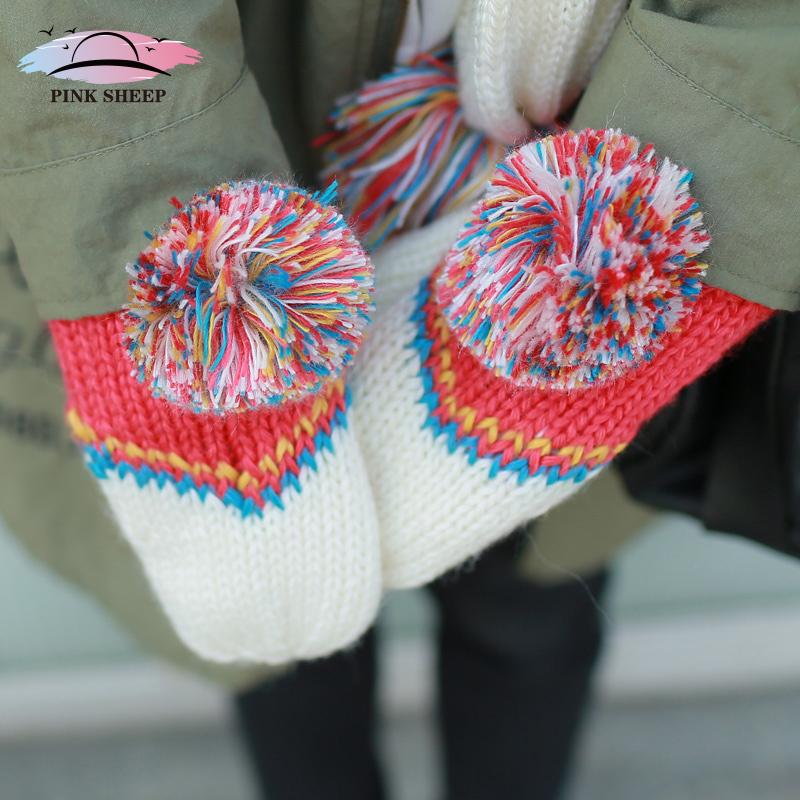 Pink sheep handmade thick hand-woven woolen mittens lovely ladies gloves gloves Korea Korean wave(China (Mainland))