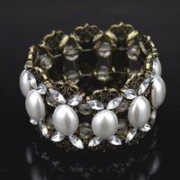 2014 New Arrival Fashion vintage white big pearl stretch bracelet for women