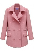 2014 Winter & Autumn Newly Women Long Sleeves Double-Breasted Woolen Trench Coat  Free Shipping