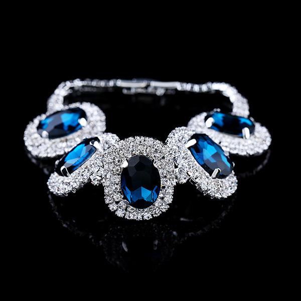 Sale !!! Luxury Cristal Sapphire Bracelet , Bisuteria Pulseras Mujer , Strass Bijoux Femme , Cristais Pulseiras Female(China (Mainland))