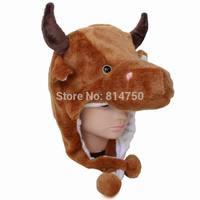 MODA CUBE Fun Plush Animal Bull Cow Boy Baby Girl Costume Cosplay Winter Hat Cap