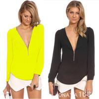 fashion women vneck zipper blouses color ladies shirt  women long selleve chiffon shirts freeshipping