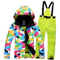 High quality Winter  Ski Jacket+Pants Outdoor sports Fashion Waterproof  Women Coat Thickening Keep warm Ski Pants Free shipping