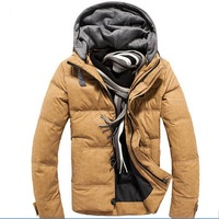 hot sale free shipping 2014 winter man casual thick hooded down jackets