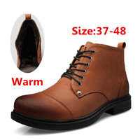 Handmade Genuine leather boots warm fur plus size men winter shoes,full grain leather Super warm men winter boots for Russian