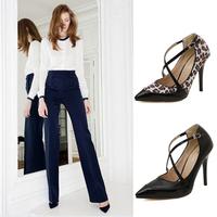 Ladies Sexy High Heels Pointed Toe Women Pumps Shoes Woman Female Size 35-40 Black Leopard JJM995-12