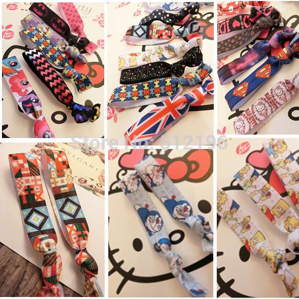 AHO323(100), Fold Over Elastic Hair Band Kitty/Simpson/Super Man Cartoon Print Hair Tie Wristband For Girl And Kid(China (Mainland))