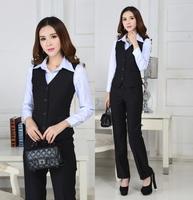 Plus Size Fashion Elegant 2014 Spring Autumn Professional Business Work Wear Suits Vest + Pants Office Ladies Formal Pantsuits