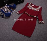 Female spring autumn plus size full puff sleeve O-neck classic British style big plaid splice slim Hedging dresses R96 B01