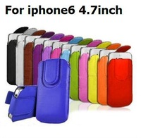 For iPhone 6 6G 4.7 inch Sleeve Pull Tab PU Leather Pouch Bag Case Cover for iPhone6 5 5s 4 4s Fast Shipping