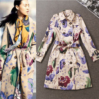 Free shipping 2014 autumn women Windbreaker  High temperament Fashion wild Flower pattern