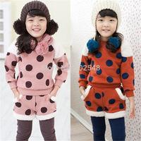 2014 Winter Girls Warm Suits Children Dot Plus Velvet Long Sleeve Tops And Pants Set Kids Clothes 5 SET