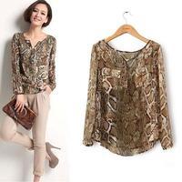 new women fahsion chiffon blouse women Snake Pattern shirt blusas femininas roupas femininas plus size free shipping