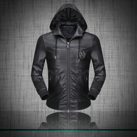 Hot Classic Men Fashion  Faux Leather Jacket/Designer High Quality Soft Zipper Casual Jacket/Outerwear
