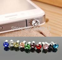 100pcs/lot Small Diamond Rhinestone 3.5mm Dust Plug Earphone Plug Luxury Phone Accessories For iphone mixed color ship