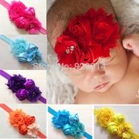 Drop ShippingHair accessories infant baby girls mix chiffon flower headband children hair band 14 colors