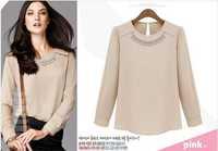 Dropshipping!2014 Autumn women OL blouse modern stylish long sleeve top Work shirt