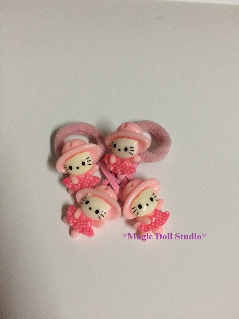 "[AM076-A] 18"" American girl doll accessories# Pink Kitty Hair Rope and Clip Set for American girl doll and Baby Girl Hair Piece(China (Mainland))"
