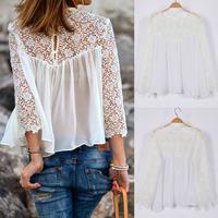 2014 new summer fashion blouse lady lace embroidery long sleeve chiffon shirt white lace blouse for women  plus size S-XXL