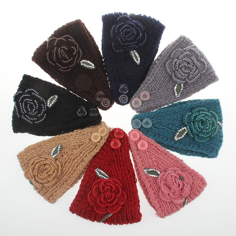 crochet pattern Headband with Flower head wrap beads and acrylic,free ...