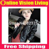 FreeShip New Brand Fashion Women Korean Slim short Black Faux leather jacket Long Sleeve PU leather jacket S M L XL XXL 3XLA0620
