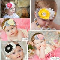 Drop Shipping 1PCS children accessories mix color shabby flower rhinestone beads center headband elastic headband